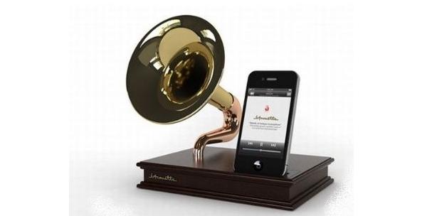 un amplificateur pour iphone en forme de gramophone