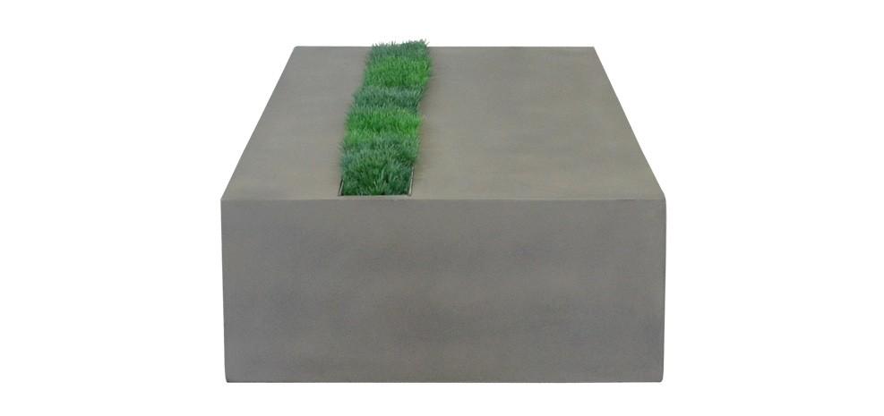 table basse en béton clair avec herbe