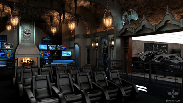 la batcave de the dark knight  par elite home theater seating