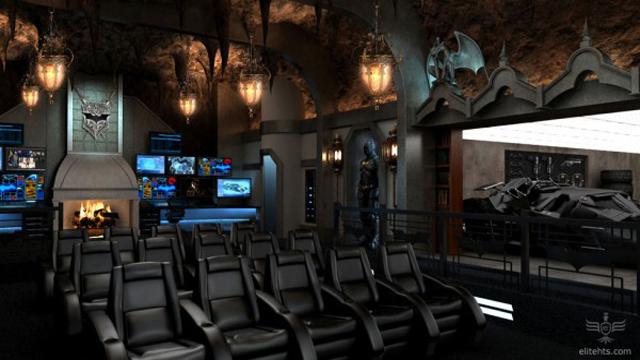 la batcave de the dark knight  par elite home theater seating